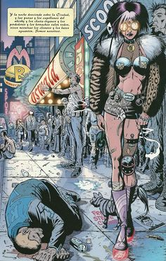 More cyberpunk. Here a page from Transmetropolitan.