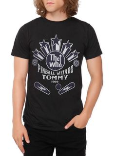 """Black slim-fit T-shirt with """"Pinball Wizard"""" inspired design from The Who's Tommy.***"""