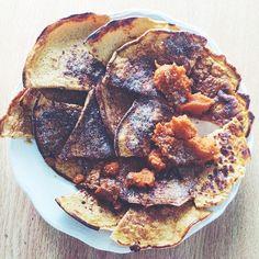 Peak week style pumpkin spice protein pancakes  100g egg whites, 1/4c water (or almond milk), 20g quick oats, 80g pumpkin purée, 20g cinnamon swirl whey, 1/4t pumpkin pie spice, 1/4t cinnamon, 1/2t baking powder. Blend and cook!