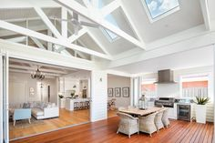 Inspiration ~ We love the look of the exposed trusses & think the skylights are perfectly placed. Well done Phil & Amity your home is… Die Hamptons, Hamptons Style Homes, Hamptons Decor, Exposed Trusses, Cottage Shabby Chic, Architecture Renovation, Modern Country Style, Country Style Houses, Custom Built Homes