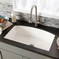 "33"" x 21"" Farmhouse Quartet Kitchen Reversible Sink - Pearl Apron Front Kitchen Sink, Kitchen Sink Design, Farmhouse Sink Kitchen, New Kitchen, Kitchen Sinks, Bathroom Sinks, Kitchen Ideas, Concrete Sink, Concrete Kitchen"