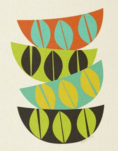 Next shipping date:  27th January - bowl stack, Cathrine Holm inspired, mid century design, art print by Pool Pony,  A4 size