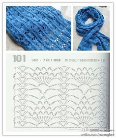 MiiMii - crafts for mom and daughter .: Magic szydełka- inspiration, stitches and patterns for each. Crochet Stitches Chart, Crochet Diagram, Crochet Motif, Crochet Designs, Knit Crochet, Crochet Shawls And Wraps, Crochet Scarves, Crochet Clothes, Stitch Patterns