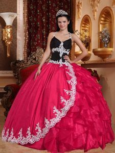 Taffeta and Organza Appliqued Coral Red Ball Gown Quinces Dresses with V-neck