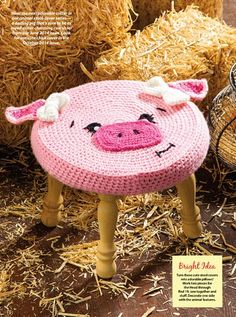 Farm Animal Stools: Pig pattern by Alessandra Hayden Crochet World, Crochet Toys, Crochet Baby, Free Crochet, Baby Patterns, Crochet Patterns, Stool Covers, Punch Needle Patterns, Cute Cows