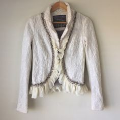 "FreePeople Off-White Victorian Jacket Fully lined, stretchy, with ruffles and detailed embroidery. Previously owned moderately used. Reposhing, sleeves short for me though I can make it work. Fits XS/S. 22"" sleeves. 20"" length. Will fit 0-2. Selling at asking price or best offer, I still like this item. 😅🌻 Free People Jackets & Coats Blazers"
