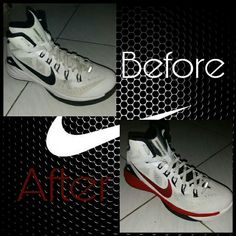 Which one's  better ? Cm your idea . ( done by myself ) #nike #art #dye #color #shoes #diy #sneakers #sport #before #after #white #black #red