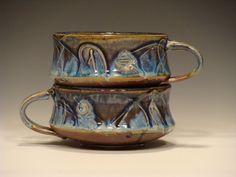 Ceramic Soup Mug Set3454 by dragonfliesandmud on Etsy, $38.00