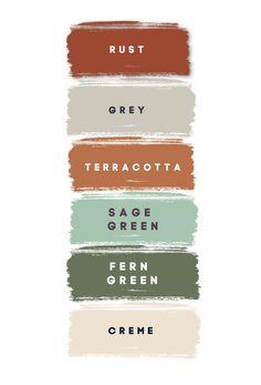 Colour Pallete, Colour Schemes, Color Combos, Sage Color Palette, Green Color Palettes, Rustic Color Palettes, Spring Color Palette, Green Paint Colors, Paint Color Palettes