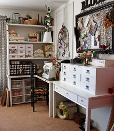 Jill's studio.  needlework, needlecraft, craft room, studio, workroom, space, atelier, sewing, knitting, crochet, embroidery, stitching, quilting