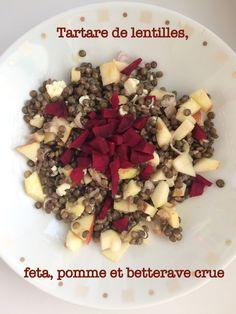 Une recette cru-cuit à base de lentilles du Puy, de feta, de pomme et de betterave crue, pour accompagner un BBQ d'été ou constituer un plat complet au déjeuner.