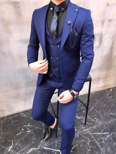 Blue Slim Fit Suit, Blue Suit Men, Grey Suits, Mens Fashion Suits, Mens Suits, Terno Slim, Royal Blue Suit, Blazer Outfits Men, Dress Suits For Men