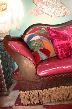 vintage victorian sofa...recovered in glitter vinyl. yeah, baby.