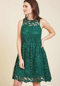 Lithe Laughter Lace Dress by Wendy Bird - Green, Solid, Special Occasion, Wedding, Party, Cocktail, Holiday Party, Bridesmaid, Wedding Guest, A-line, Sleeveless, Fall, Knit, Lace, Best, Exclusives, Lace, Prom, Valentine's, Homecoming, Vintage Inspired, 90s, Luxe, Fit & Flare, Spring, Summer, Winter, Knee Length, Crew  http://shareasale.com/r.cfm?b=758999&u=1422417&m=43745&urllink=http%3A%2F%2Fwww%2Emodcloth%2Ecom%2Fshop%2Fdresses%2Flithe%2Dlaughter%2Dlace%2Ddress&afftrack=