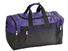 """Blank Duffle Bag Duffel Bag in Black and Purple Gym Bag by OnlineSuperStore. $14.29. FEATURES: Perfect Sports Gym bag, Original U-shape main zippered compartment, two end zippered pcokets, front zippered pocket, adjustable and removable shoulder strap. COLORS: Black, Royal/Black, Red/Black, Purple/Black, Yellow/Black, Navy/Black. SIZE: 17"""" X 10"""" X 9"""". MATERIAL: 600D Polyester w/ Heavy Vinyl Backing. INTENDED USE: GYM, SPORTS, TRAVEL, LUGGAGE, CARRY-ON BAG, HIKING AN..."""