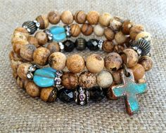Rustic Stacking Trio  Copper Patina Cross by CountryChicCharms, $75.00