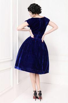 Blue velvet retro dresses