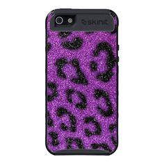 Girly Cute Trendy Purple Glitter Cheetah print iPhone 5 Cover