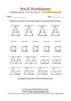 Pre-K Alphabet Tracing Worksheets in PDF. Learn to Trace Alphabet Letters with our Free A to Z Printable Pre-K Tracing Worksheets Alphabet Writing Worksheets, Pre K Worksheets, Alphabet Tracing, Preschool Worksheets, Printable Alphabet, Alphabet Crafts, Preschool Printables, Printable Worksheets, Printable Coloring