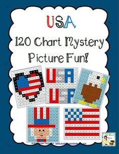 Students will love discovering the mystery pictures while they practice place value and recognizing colors and numbers on a 120 chart. Use the key to color in the boxes and reveal a hidden picture! Great for summer, 4th of July, Memorial Day, Flag Day, President's Day, or any other time you are studying about the United States! Heart flag, bald eagle Uncle Sam, American flag, USA $