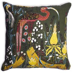 Klaus Haapaniemi's Crane cushion cover presents a handsome Crane among a lush group of flowers. The lovely print decorates both sides of the cushion cover that is made of linen and has a concealed zip closure. Nordic Design, Scandinavian Design, Traditional Decorative Art, Green Throw Pillows, Toss Pillows, Accent Pillows, Color Guard, Printed Linen, Marimekko