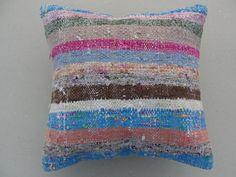 "Modern Bohemian Home Decor , Embroidered Handwoven Striped Vintage Tribal Turkish Rag Rug Kilim Pillow cover 16"" x 16"