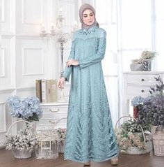 id – HijabStyle Dress Brukat, Hijab Dress Party, Hijab Style Dress, Batik Dress, The Dress, Dress Outfits, Dresses, Model Kebaya Muslim, Dress Brokat Muslim