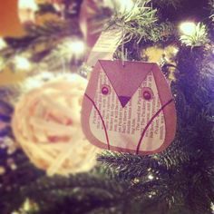 DIY, homemade ornament. recycled newspaper owl. #natepk