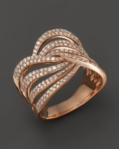 Diamond Multirow Twist Ring in 14K Rose Gold, .70 ct. t.w. - 100% Exclusive