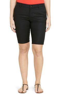 Lauren Ralph Lauren Stretch Cotton Sateen Shorts (Plus Size)