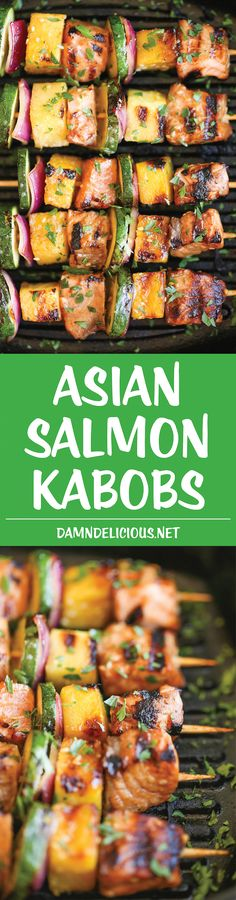 Asian Salmon Kabobs - These salmon kabobs are easy to make, hearty, light and healthy. And they're packed with tons of vibrant flavors! 368.1 calories.