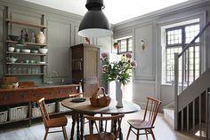 baskets below; Grey and dark wood kitchen via Brabourne Farm