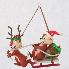 Disney Chip and Dale Dashing Through the Snow Hallmark Ornament 2018
