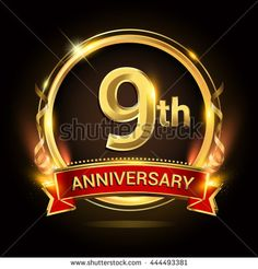 9th golden anniversary logo, 9 years anniversary celebration with ring and red ribbon, Golden anniversary laurel wreath design.