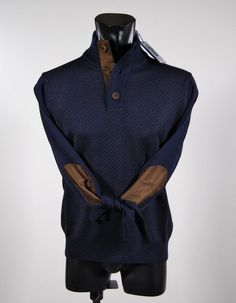 Mock neck sweater with button wool shaved tiny patterns