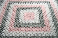 Baby Girl Afghan Pink Gray and White Blanket by OakHillTraditions