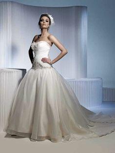 Strapless natural waist ball gown organza wedding dress