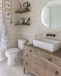 Create an airy and bright washroom with all-over natural hues. Shop the look with the link in our profile. @jennasuedesign #airy #bright #washroom #natural #birchlane