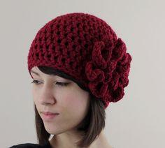 Cranberry Crochet Hat with Large Flower Women Teen by zukas | Craft Juice - Handmade Social Network