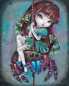 Fantasy Big Eye Art Lowbrow Pop Surreal Carousel Jumping Spider POSTER PRINT