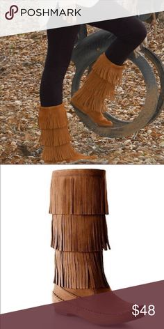 Chestnut Suede Fringe Boots Brand New in Box (NIB). Size 6.5. Adorable chestnut-brown suede fringe boots by Lauren Conrad. Featuring a three layer fringe detail and moccasin toe. Suede/fabric upper and synthetic soft lining in inner boot. Quality is amazing and durable. Give off a boho cute look for Fall and Wintertime! LC Lauren Conrad Shoes