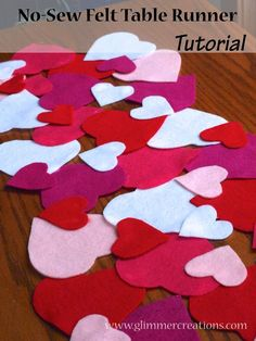 Easy No-Sew Valentine's Day Felt Heart Table Runner Tutorial - www.glimmercreations.com