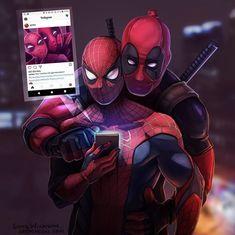 deadpool, fanart, and spiderman kép Deadpool X Spiderman, Spiderman Cute, Marvel Jokes, Marvel Funny, Funny Comics, Deadpool Wallpaper, Dead Pool, Marvel Art, Marvel Dc Comics