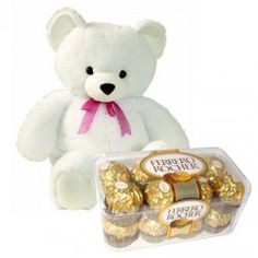 1) 8-10 inches Teddy Bear 2) 16 Pcs Fererro Rocher Chocolates http://thetradeboss.com/deals_detail.php?id=65
