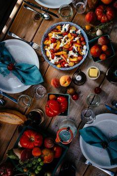 Fresh tomato + peach Caprese salad with wild blueberries & thyme - Simple Bites Buffalo Mozzarella, Ripe Peach, Wild Blueberries, Sweet Cherries, Serious Eats, Fruit In Season, Fresh Lemon Juice, Savoury Dishes, Caprese Salad