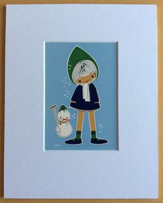 Jaklien Moerman Retro Postcard mounted and ready to frame Let It Snow
