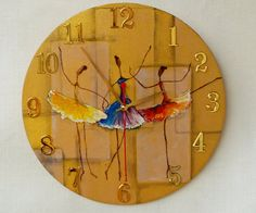 ClockArtVintage - oil paintings, unique wall clocks and vintage: Wooden wall clock Ballerina Gold Wall Clock, Clock Art, Diy Clock, Handmade Wall Clocks, Unique Wall Clocks, Unique Wall Art, Wooden Decor, Wooden Walls, Retro Clock