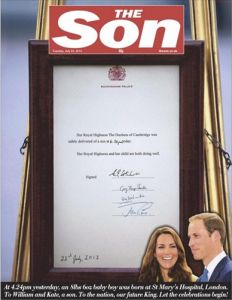 The Sun newspaper, becomes The Son for the day.