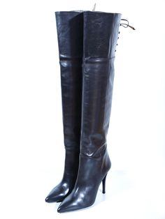 NEW!! -BUFFALO Designer Over Knee Leather Boots Leder Stiefel EU40 / UK7 / US9.5