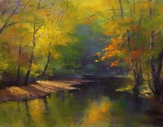 """https://www.facebook.com/MiaFeigelson """"Sheltered glow"""" By Phil Bates, from Roseburg, Oregon, US (b. 1954) - soft pastel painting; 11 x 14 in - Phil Bates has been painting with soft pastels since 2005 https://www.facebook.com/PRBates"""